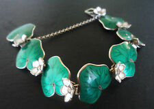 Norwegian Sterling Silver & Green Enamel Lily Pad Bracelet David Andersen Norway