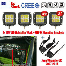4x 3INCH 18W CREE LED SPOT LIGHT BAR + MOUNTING BRACKET FIT FOR JEEP JK WRA