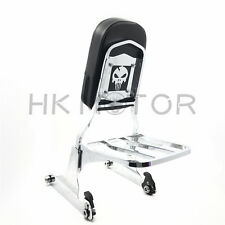 Skull Chrome Detachable Sissy Bar Backrest & Luggage Rack for Harley Softail FLH