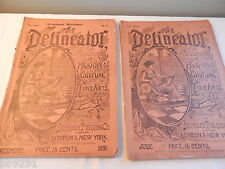 2 The Delineator Magazines 1891 July December Vintage Antique