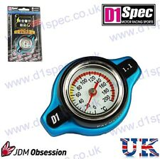 D1 SPEC RACING RADIATOR CAP 1.1kg/cm WITH TEMPERATURE GAUGE BLUE SMALL HEAD JDM