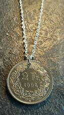 Swiss 2 Franc Coin with Silver Plated Chain Necklace Pendant Year 1994