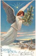 God Jul! Merry Christmas! Beautiful Woman, Angel, Flying, Tree, Star, Panorama