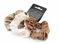 3 x Brown Cream Satin Hair Scrunchie Bobble Hair Bands