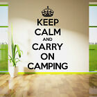 KEEP CALM AND CARRY ON CAMPING vinyl wall art room sticker decal