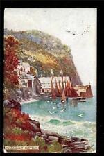 1912 Tuck art signed Brugeman fishing boats harbour Clovelly Devon UK postcard