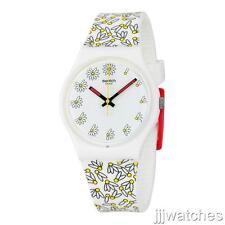New Swatch Pick Me White Floral Pattern Women Silicone Strap Watch 34mm GW174