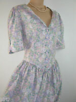 LAURA ASHLEY VINTAGE PASTEL SUMMER MEADOW FLOWERS TEA DRESS, 12