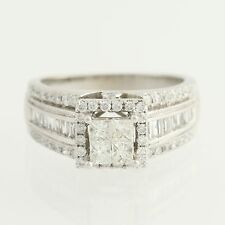 Composite Diamond Engagement Ring - 14k White Gold Halo 1.00ctw