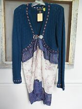 Women's OOAK Tied Cardigan Sweater Upcycled Unique Extension Polyester Materl SM