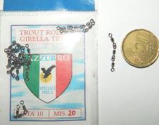 1 CONFEZIONE DA 10  PEZZI DI GIRELLE TRIPLE AZZURRO  N° 20 PESCA STRISCIO  MU 33