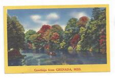 MS Grenada Mississippi antique post card NYCE Greetings from Grenada
