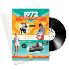 1972 44th Birthday Anniversary Gift 4-In-1 Retro Greetings Card Book Britpop CD