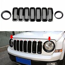 9pcs Front Grille Mesh Trim+Head Light Cover Trim Black For 2011-17 Jeep Patriot