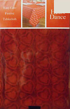 VALENTINE'S DAY TABLECLOTH HEART DANCE POLYESTER FABRIC OPEN WEAVE RED 52x70 OBL
