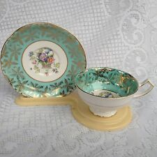 Pretty Turquoise/light Green Gladstone Floral Basket Tea Cup and Saucer Set (974