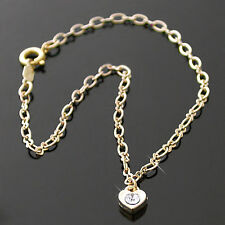 "HEART CRYSTAL CHARM 13"" Fancy OPEN link 14K GOLD EP Anklet Ankle Foot Chain 