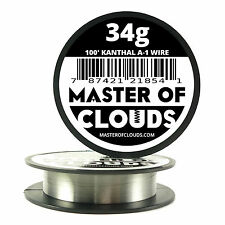 100 ft - 34 Gauge AWG A1 Kanthal Round Wire 0.16 mm Resistance A-1 34g GA 100'