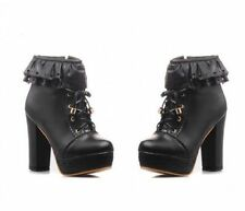 Platform Block Heel Lolita Lace Up Womens Ankle Boots