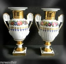 Pair of Meissen vases - women and male faces in handles - gold designs FREE SHIP