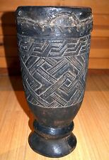 Antique Kuba Tribe African Wood Ceremony Drum Carved Geometrical Congo, Africa