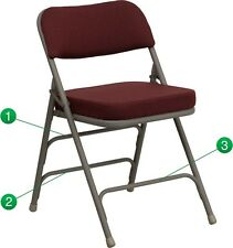 Heavy Duty Fabric Padded Burgundy Color Steel Folding Chairs