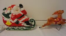 VTG EMPIRE SANTA CLAUS SLEIGH & 2 REINDEER CHRISTMAS BLOW MOLD LIGHTS UP DECOR