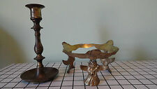 England 7'' candle holder and three angels   vintage brass