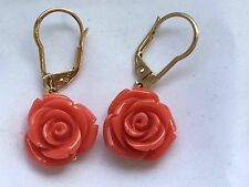 stunning  Mark 14k  Chinese nature red coral Carved Rose  earring-5.1g