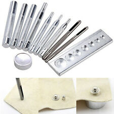 Set of 11 Die Punch Tool Snap Rivet Setter Base Kit For DIY Leather Craft Tools