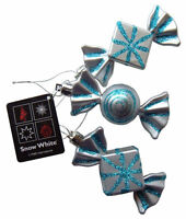 Christmas Tree Baubles Silver & Blue Sweet Candy Ornaments, Set of 3 Decorations