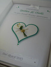 Personalised Emerald 55th Wedding Anniversary Card, Swarovski crystals, boxed