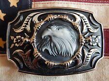 Nuevo Y Exclusivo Eagle Head Hechos En Usa hebilla de cinturón Plateado/negro Metal Western Goth