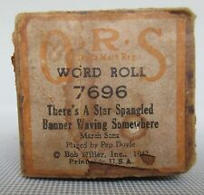 """Q R S Player Piano Word Roll """"There's A Star Spangled Banner Waving Somewhere"""""""