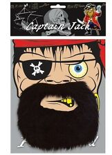 DÉGUISEMENT CAPITAINE JACK PIRATE NOIR BARBE (U06 128)
