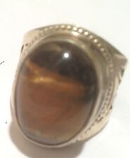 Nepal Tibet Etched Silver Ring with iridescent Brown Agate Size 9 USA SELLER