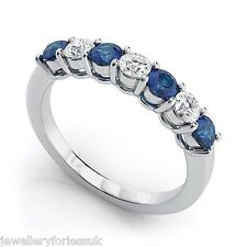 18K White Gold Diamond & Blue Sapphire 7 Stone Eternity Ring 0.50cts 2.5MM wide