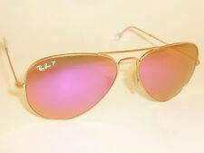 RAY BAN Aviator Sunglasses Matte Gold RB 3025 112/1Q Polarized Cyclamen Mirror