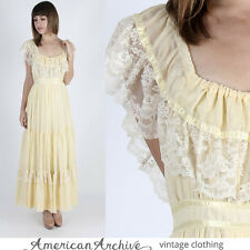Vintage 70s Gunne Sax Dress Boho Wedding Prairie Yellow Floral Lace Party Maxi M