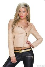 Women's Chic Elegant High Quality Leatherette Jacket Coat UK Size 12-14