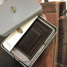 Fossil Brown Leather Lincoln Magnetic Money Clip Card Case Wallet ML3693B200 NWT