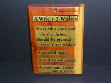 Vintage Mid Century Wife's 3 Wishes Wood Wall Plaque Kitsch 50's Deadwood S.D.