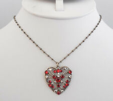 NWT ANNE KOPLIK SWAROVSKI CRYSTAL RED HEART NECKLACE