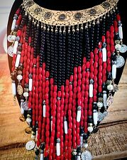 Bohemian/TRIBAL Gypsy /BOLD Metal  Gold/BEADS Necklace /Festival Hippie Ethnic