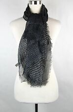 New Bottega Veneta Large Black Brown Line Patterned Silk Scarf 313441 4763