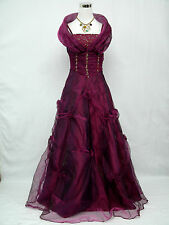 Cherlone Satin Dark Purple Sparkle Ball Gown Wedding/Evening Dress UK Size 16-18