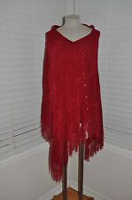 New NORTH STYLE sz M Red Chenille Fringed Poncho Sweater Wrap Shawl Cloak