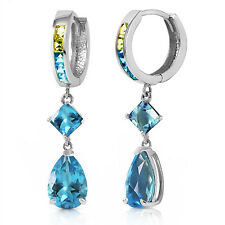 5.37 CTW 14K Solid White Gold Huggie Earrings Peridot Blue Topaz