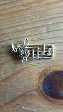 Vintage  musical notes 9Ct Yellow Gold Charm or  Pendant Uk Hallmark