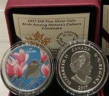 2017 Birds Among Nature's Colours $10 Pure Silver Proof Coin Canada: Chickadee.